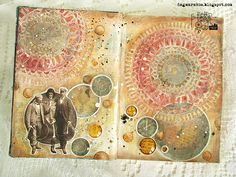 Dagmara Kos : There is no escape mixed media art journal page with DecoArt media
