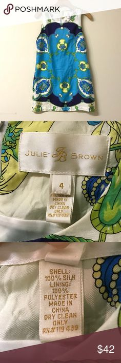 Julie Brown Equestrian Silk Shift Dress Beautiful equestrian print shift dress by Julie Brown. 100% silk with a polyester lining. Size 4. Excellent pre-owned condition - NO flaws!! Julie Brown Dresses Midi