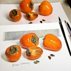 Сегодня #воскресный_этюд_lizalegina про Оранжевое на сером) просто #хурма, просто захотелось ярких красок!#краски #осени #акварель #бумага  #этюд #живопись #графика #рисую #watercolor #waterblog #topcreator #instaart #paper #painting #artstagram #arts_help #artshow #arts_gallery #study #drawing #myart