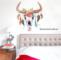 Colorful Lucky Flower Feather Bull wall stickers children room wall decals God Be With You