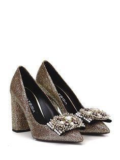 STRATEGIA - Decolletè - Donna - Decolletè in glitter con pietre e strass su puntale. Suola in cuoio, tacco 95, - ORO