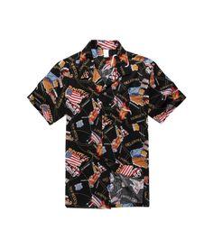 Men Hawaiian Aloha Shirt in Black Map Route 66