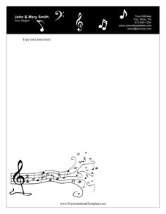 A black bar with white music notes decorates the top of this printable letterhead for singers and musicians. Free to download and print
