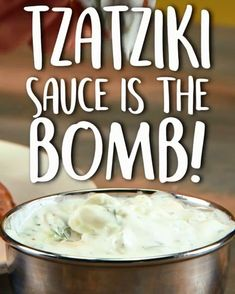 A traditional Greek dip and gyro condiment, this tzatziki recipe also makes a tasty topping for sandwiches and even hamburgers. Tazatziki sauce is the Bomb! mix with shreaded chicken, top a sweet potato or salmon Omg I love this sauce! Tzatziki Sauce, Tzatziki Recipes, Diet Recipes, Vegetarian Recipes, Cooking Recipes, Healthy Recipes, Healthy Sauces, Cooking Ham, Cooking Ribs