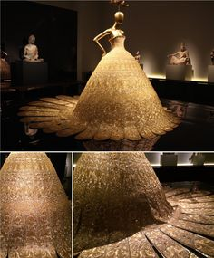 Guo Pei (Chinese, born 1967), Evening gown, spring/summer 2007 haute couture, Gold lamé embroidered with gold and silver silk, metal, and sequins Courtesy of Guo Pei. Photo/Lia Chang Via: alldigitocracy.org/tag/art