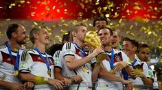Andre Schuerrle of Germany kisses the World Cup