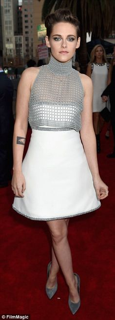 Elegant: The Still Alice actress sported a strapless white dress with a flared skirt, team...