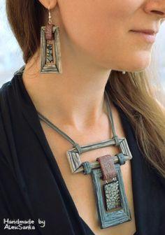 Unusual jewelry Geometric necklace Stylish earrings Unusual necklace Unusual earrings Stylish necklace Stylish jewelry Statement jewelry - new season bijouterie Unusual Jewelry, Stylish Jewelry, Boho Jewelry, Jewelry Design, Fashion Jewelry, Fine Jewelry, Silver Jewelry, Jewelry Crafts, Jewelry Accessories