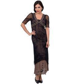 Nataya 1930s Style Black & Cocoa Half Sleeve Embroidered Tulle Tea Length Dress