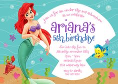 Are You Fan Of Ariel The Little Mermaid Below Example Free Printable Birthday Invitations That Greate To Have