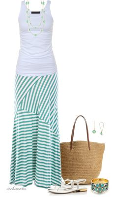 Cute for summer - Mint Striped Maxi Skirt and top