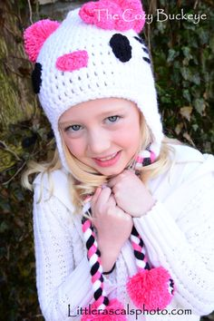 Hello Kitty Character Hat Pattern * Crochet Design by April Burwick of TheCozyBuckeye