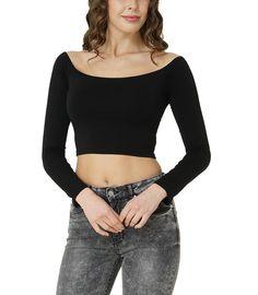Bodywear Shop Damen Crop Top Langarmshirt U-Boot-Ausschnitt bauchfrei Schwarz