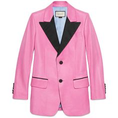 Gucci Silk Two-Button Jacket (€2.865) ❤ liked on Polyvore featuring outerwear, jackets, leather & fur, ready to wear, women, pink jacket, gucci, gucci jacket and lapel jacket