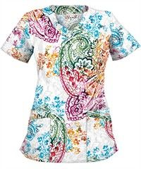 UA Pretty Paisley White Print Scrub Top- can't decide on this in the short sleeve or the long sleeve so I will pin both. Size M