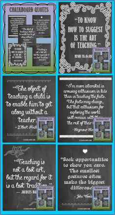 CHALKBOARD QUOTES~ Take a moment to reflect on all you do for others. Surround yourself with words that inspire, encourage, and motivate. Print out these attractive quotes to display in your classroom, home office, or the teachers' lounge. Or, frame them for a quick, thoughtful gift for a special colleague. $