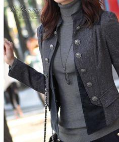 Gray Women Jacket Cotton Coat Jacket Autumn
