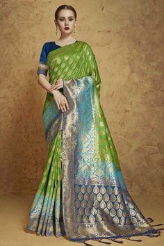 f2fd1458b5a302 Green Jacquard And Banarasi Silk Saree With Banarasi Silk Blouse - DMV12186   silkblouse  banarsisilksaree