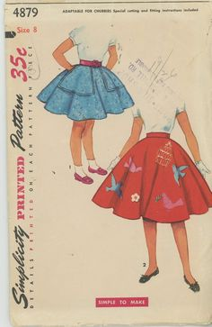 Girls Full Poodle Skirt 1960s Vintage Sewing Pattern SIMPLICITY 4879 Size 8 UNCUT
