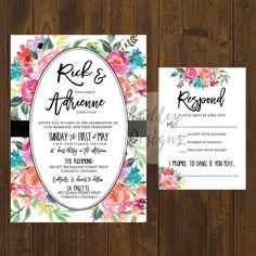 Floral Wedding Invitation, Elegant Wedding Invitations, Vintage Wedding Invites, Classic Wedding Invite, Modern Wedding Invitation