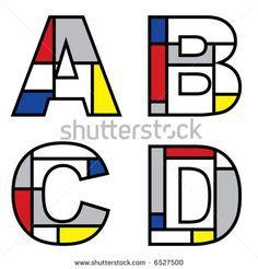 mondrian alphabets (vector) - stock vector