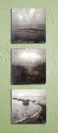 Lakeside  grouping of three photo encaustic by interrobangart, $130.00