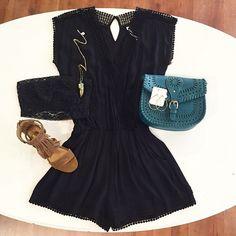 Cute black romper with fringe heels, fringe wedges