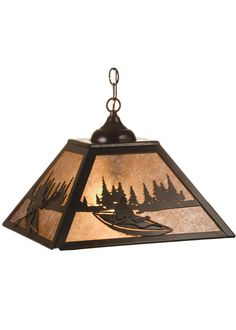 """16 Inch Sq Kayak On Lake Pendant - 16 Inch Sq Kayak On Lake PendantA Kayaker on a scenic lake is depicted on thispendant. The fixture is finished in Timeless Bronze,has Silver mica panels, and is handcrafted in the USAby Meyda artisans. Theme: RUSTIC LODGE RECREATION Product Family: Kayak on Lake Product Type: CEILING FIXTURE Product Application: PENDANT Color: TIMELESS BRONZE/SILVER MICA Bulb Type: MED. Bulb Quantity: 2 Bulb Wattage: 100 Product Dimensions: 15""""-44""""H x WPackage Dimensions…"""
