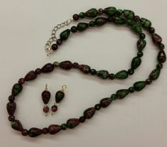Ruby Zoisite Necklace and earrings set, adjustable necklace length by CCGemstoneJewelry on Etsy
