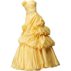Yandeks.Fotki ❤ liked on Polyvore featuring dresses, gowns, yellow and belle