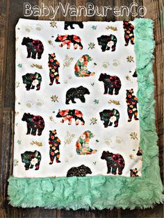 A personal favorite from my Etsy shop https://www.etsy.com/listing/543644742/floral-bear-minky-baby-blanket-crib