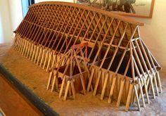 Model of viking longhouse, Fyrkat Museum, Hobro, Denmark