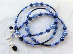 BLUE BEAUTY- Beaded Eyeglass Lanyard- Glass Pearls and Sparkling Crystals by CJsInspirations on Etsy
