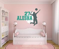 Volleyball Wall Decal, Personalized Name Volleyball, Volleyball Decor,  Volleyball Team Player Decal, Volleyball Nursery   WD0068