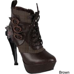 Hades Women's 'Oxford' Steampunk Ankle Bootie (2 840 ZAR) ❤ liked on Polyvore featuring shoes, boots, ankle booties, steampunk, heels, footwear, heeled ankle boots, oxford booties, lace up heel boots and ankle boots