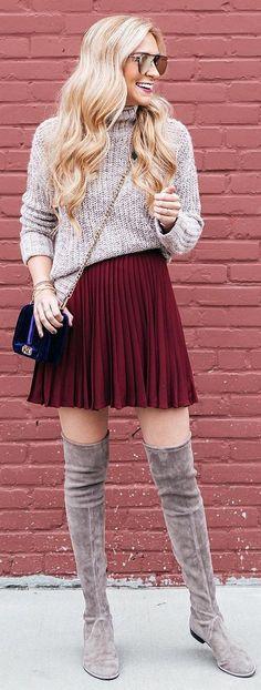 #winter #fashion / Grey Turtleneck / Red Pleated Skirt / Grey Velvet OTK Boots