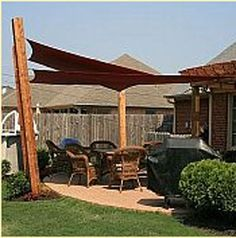 outdoor shade sails and sun shades. perfect for your doggies or kid's sand box area :)  http://www.overstock.com/Home-Garden/Medium-Triangle-Sail-Sun-Shade/1736555/product.html