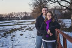 snow, purple, woods, orange gate, couple photography