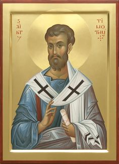 This icon of Holy Apostle Timothy is painted to order by expert icon painters of St Elisabeth Convent. Read a detailed description of the icon in our Catalog Byzantine Icons, Byzantine Art, Saint Timothy, Paint Icon, Jesus Art, Biblical Art, Orthodox Icons, Christian Art, Religious Art