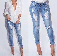 Jeans & White shirt - http://m.jluxlabel.com/