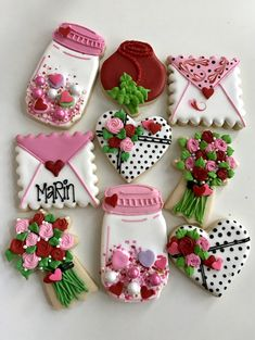 Valentine's Day cookies, mason jar, heart, flower bouquet, rose, envelope cookies