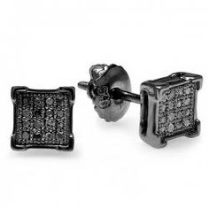 Sterling Silver Black Rhodium Plated 0.10 CT Diamond V-Prong Square Shape Mens Hip Hop Iced Stud Earrings