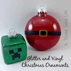 My Mom Made That: Vinyl and Glitter Ornaments.  Including Minecraft Creeper Pattern