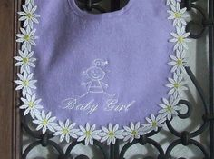 White Flowers Purple Baby Girl Bib