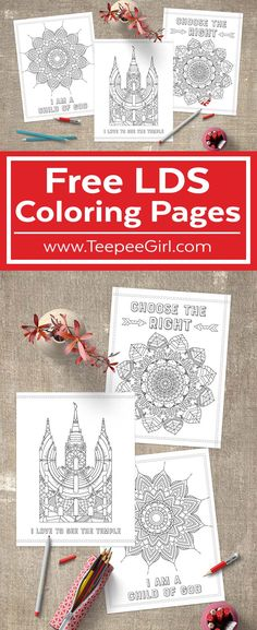 These free LDS Coloring Pages are perfect for kids & adults! Use them for Sunday classes or just quiet afternoons at home! www.TeepeeGirl.com #LDSColoringPages #LDSPrintable #LDSLessonHelps