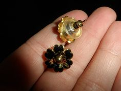 Black Asian-style flower studs by Jazminian9.deviantart.com on @deviantART