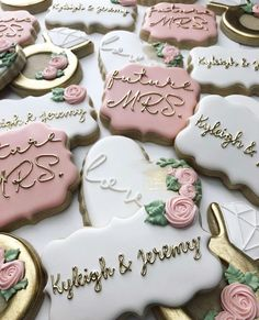 Handpainted decorated sugar cookies by Bakes by Lo   decorated cookies for engagement party   more wedding ideas & bridal inspiration @danellesbridal danellesboutique.com