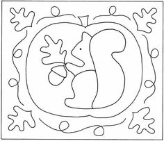 Squirrel And Pumpkin pattern Wool Applique Patterns, Punch Needle Patterns, Rug Hooking Patterns, Hand Embroidery Patterns, Applique Quilts, Rug Patterns, Stitching Patterns, Primitive Embroidery, Primitive Stitchery