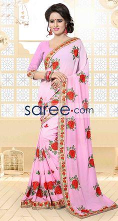 PINK ZILMIL SAREE WITH EMBROIDERY WORK  #Saree #GeorgetteSarees #IndianSaree #Sarees #PartywearSarees #RegularwearSarees #officeWearSarees #WeddingSarees #BuyOnline #OnlieSarees #GeorgetteSarees #NetSarees #ChiffonSarees #DesignerSarees #SareeFashion