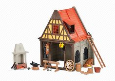 Medieval Blacksmith`s Shop - Spielzeug Play Mobile, Casa Viking, Playmobil Sets, Lego Knights, Blacksmith Shop, Shops, Medieval Art, Blacksmithing, Middle Ages